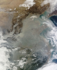 China smog satellite photo