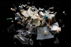 microplastic on blk bkgrnd